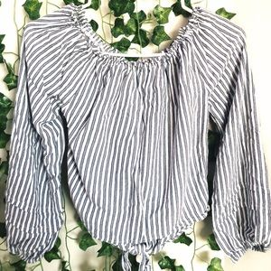 Hollister striped blue and white top